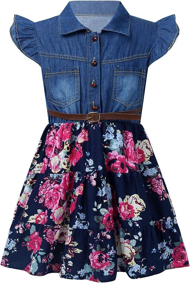 Kinder Mädchen Freizeitkleider Flatterärmel Reverskragen Kleid Knielang Blumendrucke Jeanskleid Mit Gürtel Elegent Sommerkleid Alltag Gr. 86-140