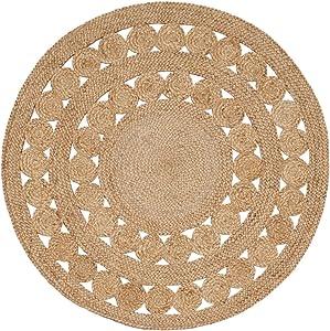 Green Decore, tappeto rotondo in iuta, intrecciato a mano, Juta, Excel Natural, 150 cm Diameter