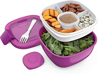 Bentgo Salad (Purple) BPA-Free Lunch Container with Large 54-oz Salad Bowl, 3-Compartment Bento-Style Tray for Salad Toppings and Snacks, 3-oz Sauce Container for Dressings, and Built-In Reusable Fork
