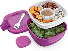 Bentgo Salad BPA-Free Lunch Container with Large 54-oz Salad Bowl, 3-Compartment Bento-Style Tray for Salad Toppings and S...