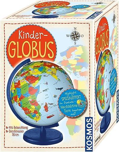 KOSMOS 673024 Kinder-Globus, ab 5 Jahren, mit Beleuchtung, Durchmesser 26 cm, Lernspielzeug für Kinder und Deko fürs ...