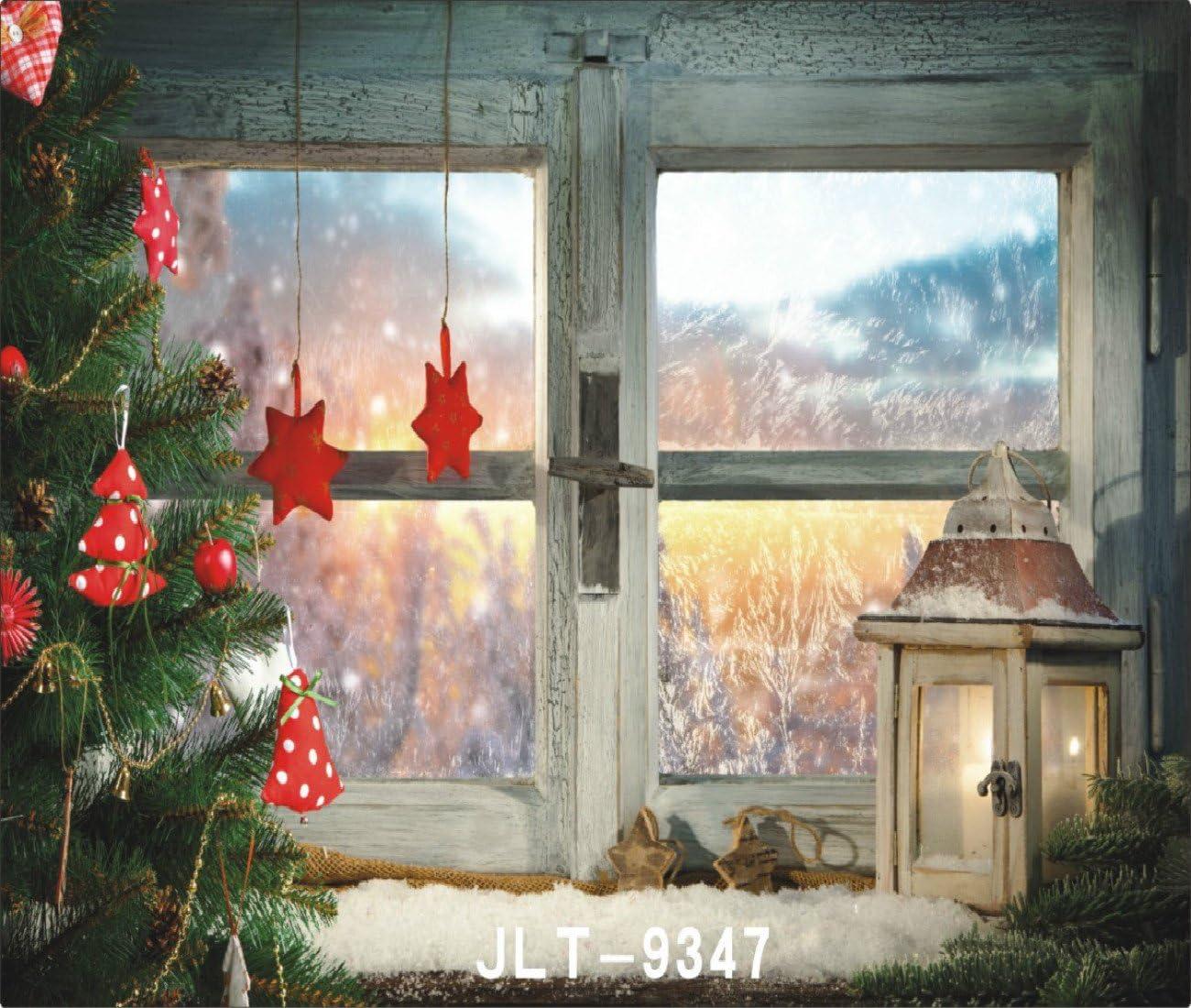 10X6.5FT-Christmas Tree Light Decoration Photography Backdrops Wood Window Photo Studio Background