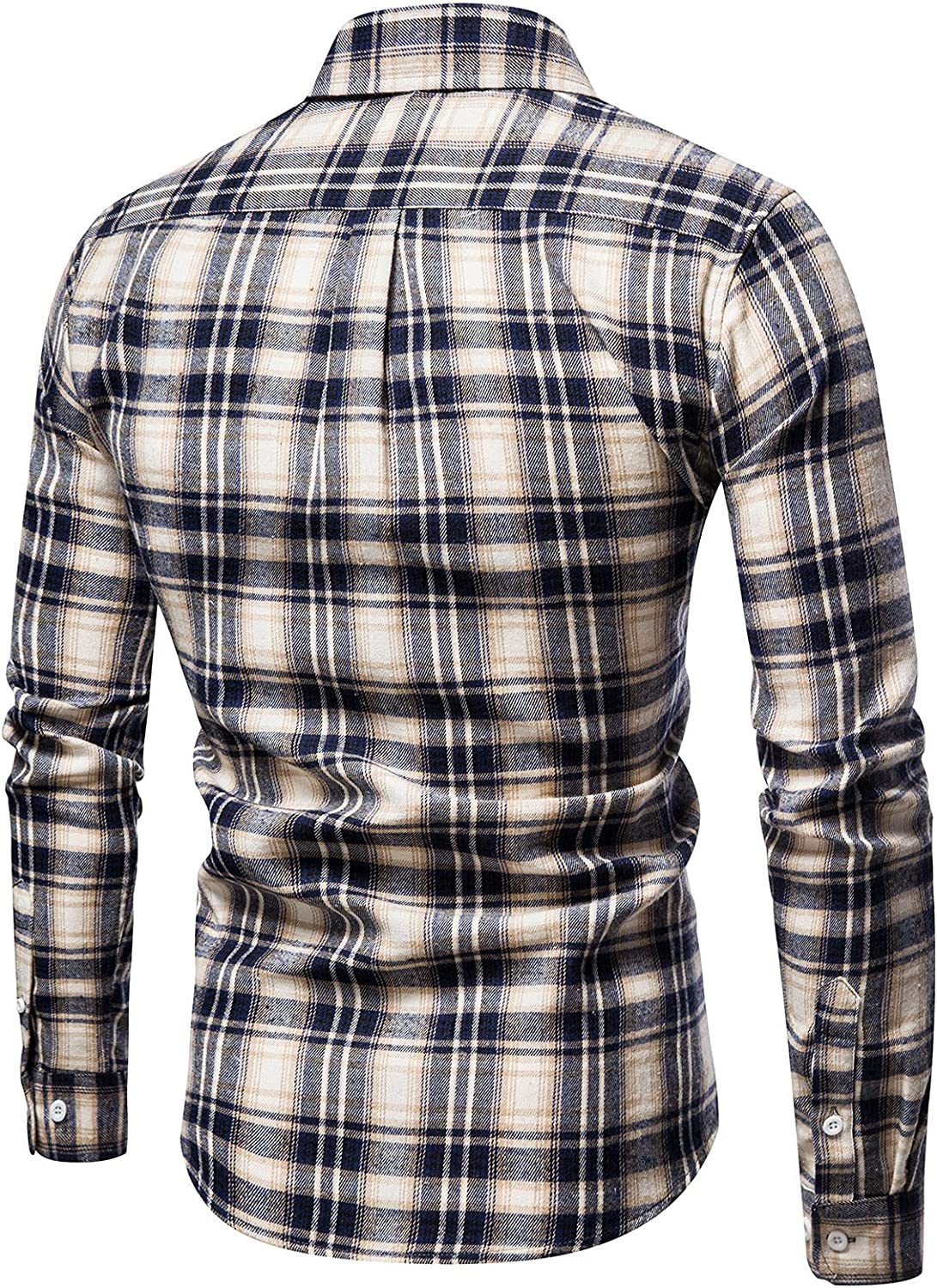 Men's Fashion Plaid Regular Fit Shirts Casual Cotton Shirts for Men Turn Down Collar Business Tops Blouse