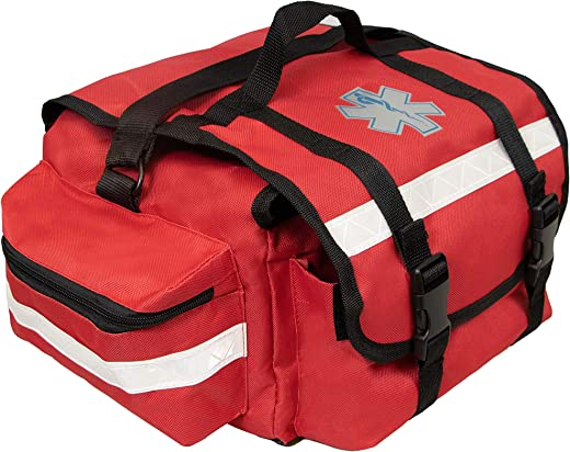 Primacare KB-RO74 EMT Emergency Trauma First Responder Empty Medical Bag for First Aid Supplies with Multiple Compartments, Red
