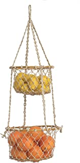 Fab Habitat Prairie Hanging Macrame Basket - Handmade, All Natural Jute & Rattan - for Plants, Flowers, Fruit, Greenery - 2-Tiers