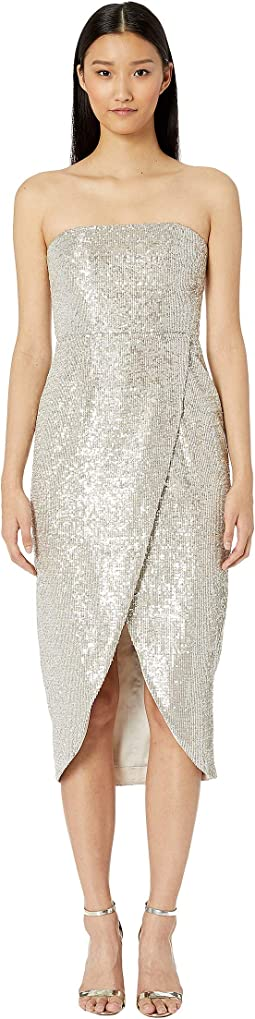 Sequin Asymmetric Wrap Dress
