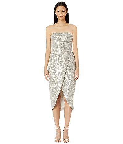 ML Monique Lhuillier Sequin Asymmetric Wrap Dress (Silver) Women