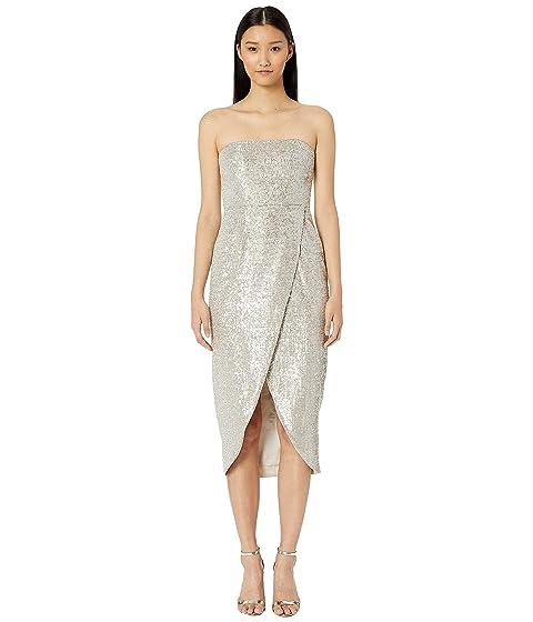 ML Monique Lhuillier Sequin Asymmetric Wrap Dress
