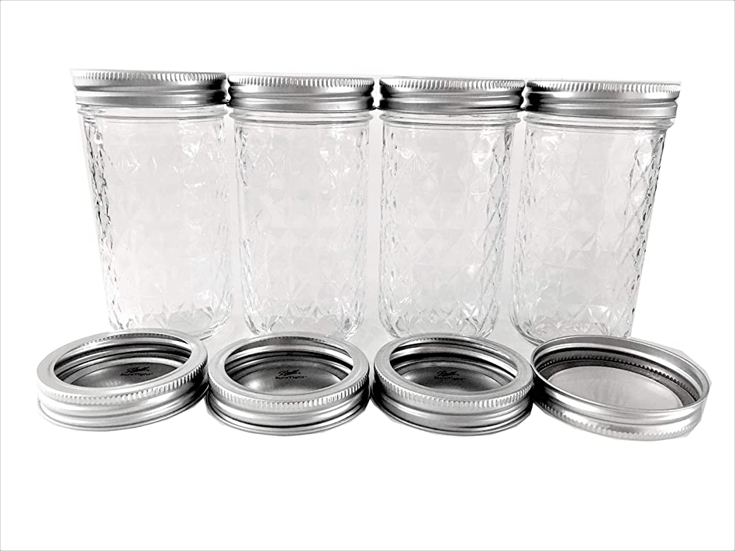 Ball Mason Jelly Jars 12 Oz Clear Quilted Glass Set Of 4 Jars Plus 4 Extra Lids