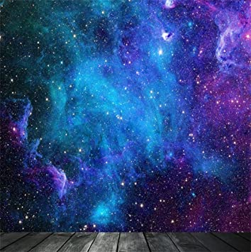 Universe 8x10 FT Photo Backdrops,Nebula and Planet Cosmic Galactic Outer Space Night Sky Starry Fantasy Background for Baby Birthday Party Wedding Vinyl Studio Props Photography Navy Blue White Coral