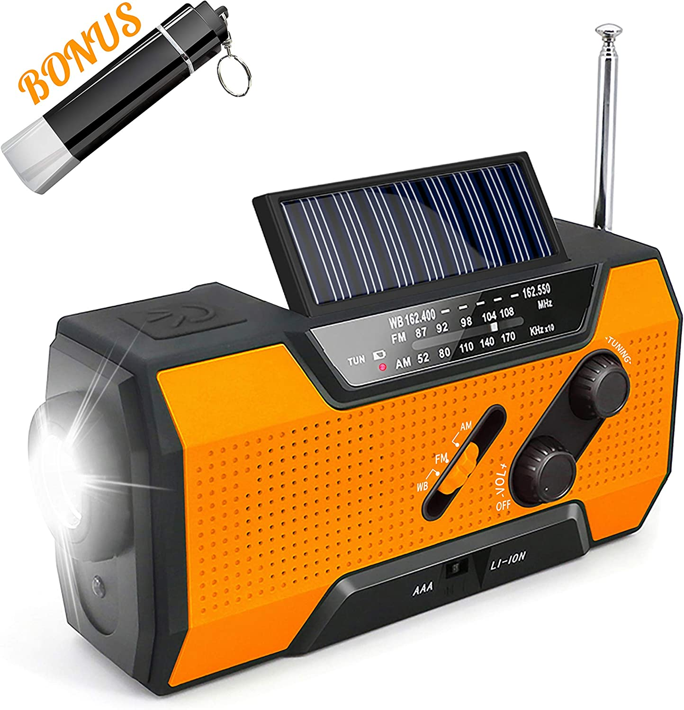 Emergency Solar Crank Radio Max 79% OFF AM with FM NOAA Weather Flash