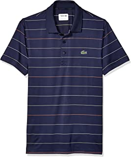Lacoste Men's Sport Short Sleeve Semi Fancy Ultra Dry Stretch Striped Polo
