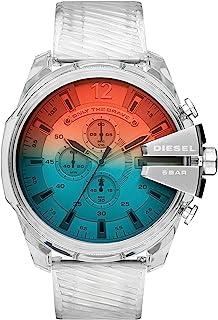 Diesel Mega Chief Men's Silver Dial PU Leather Analog Watch - DZ4515