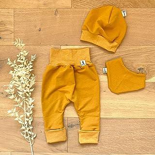 Sharlene Babymode ANGEBOT Set - Hose, Mütze, Halstuch - Herbst French Terry Senf Senf Melange Baby Junge Mädchen Babykleidung