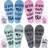 4 Pairs Wine Socks Novelty Funny Wine Socks Fuzzy Cozy Wine Socks If You Can Read This Socks with Cupcake Gift Packaging