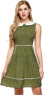 ACEVOG Women's Casual Sleeveless Doll Collar Dress Peter Pan Collar Tea Dress