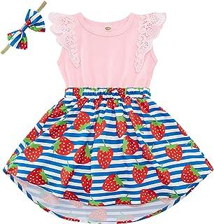 Baby Girls Floral Romper Dress Dinosaur Mermaid Unicorn Flutter Lace Sleeve Dresses Headband 2Pcs Outfit