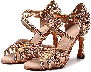 Dames Latin Ballroom Dansschoenen Rood Zwart Blauw Bruin Rhineston Latino Dansende Schoenen voor kinderen Vlek Zijde Salsa...