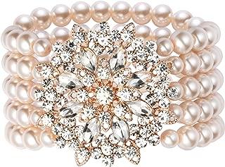 Coucoland 1920s Art Deco Pearl Bracelet 20s Gatsby Imitation Pearl Bracelet Flapper Pearl Bracelet 1920s Gatsby Accessories