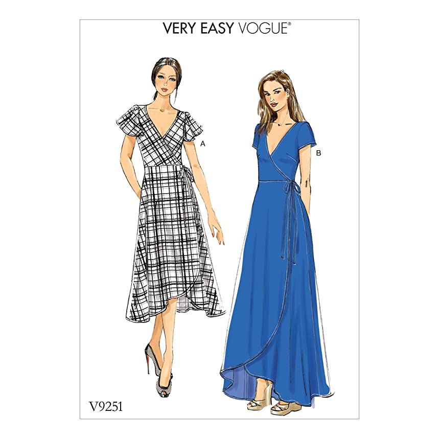 Vogue Patterns V9251F50 Misses' Wrap Dresses with Ties, Sleeve and Length Variations 16-18-20-22-24 Red