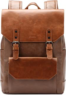 Zebella Faux Leather Backpack Vintage Leather Brown Backpack Vegan Travel College Bookbag for Women and Men