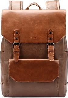 Zebella Faux Leather Backpack Vintage Leather Brown Backpack Vegan Travel College Bookbag for Women and Men
