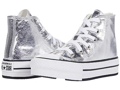 Converse Kids Chuck Taylor(r) All Star(r) Eva Lift Hi (Little Kid/Big Kid) (Grey/White/Black) Girl