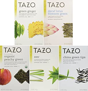 Tazo Green Tea Energizing 5 Flavor Variety Pack Sampler (Pack of 5, 100 Bags Total)