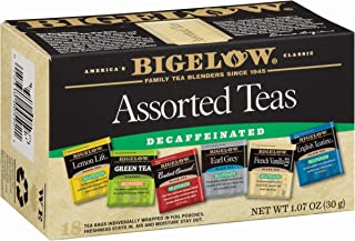 Bigelow Decaffeinated Assorted Teas, Decaffeinated Individual Green Tea and Black Tea Bags, for Hot or Iced Tea, 18 Count (Pack of 6), 108 Tea Bags Total.