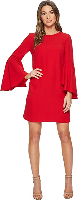 Claudette Scoop Neck Oversized Bell Sleeve Dress