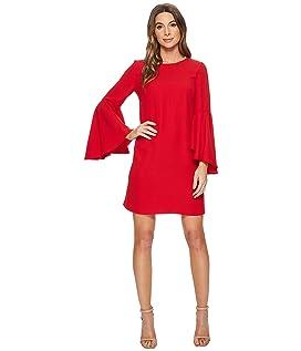 Claudette Scoop Neck Oversized Bell Sleeve Dress