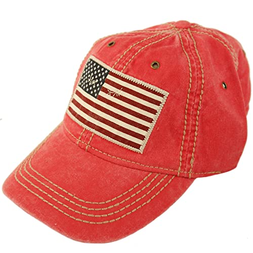 6003e9e813a59 Epoch Unisex Washed Cotton Vintage USA Flag Low Profile Summer Baseball Cap  Hat