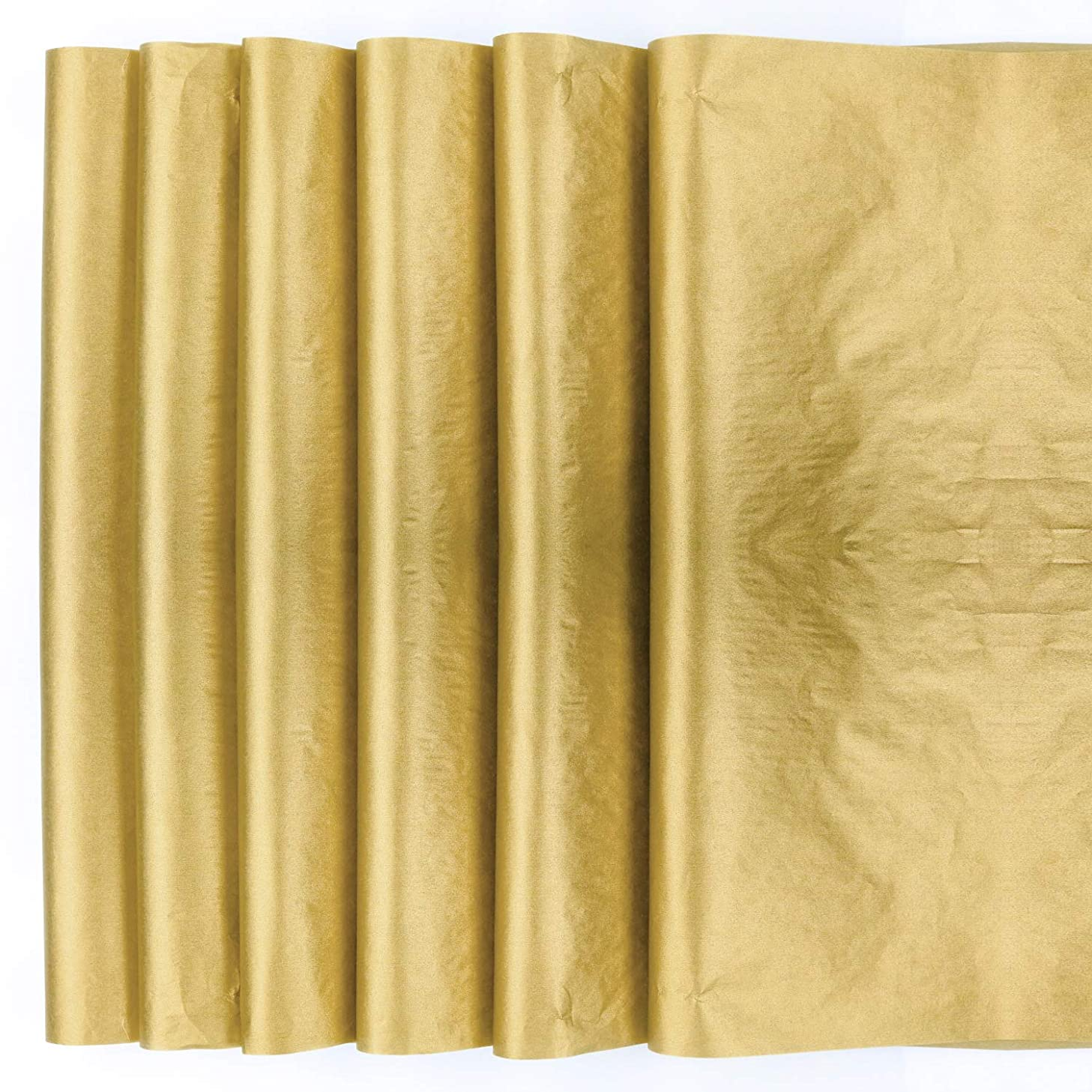 Teemico 30 Sheets Gift Wrapping Tissue Paper Antique Gold Metallic Gift Wraps Tissue Papers for Gift Bags Box Lining Wine Package,20x 28 inches