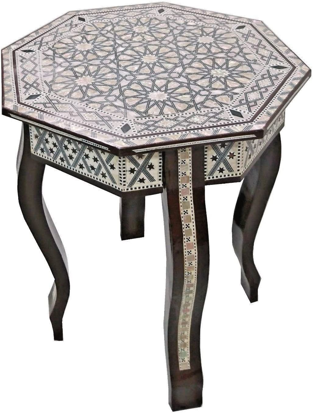 Fashionable W155 Max 86% OFF BR Mother of Pearl Moroccan Wood Table Octagonal Corner Bro