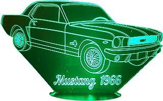 FORD MUSTANG 1966, Lampada illusione 3D con LED - 7 colori.