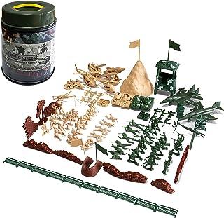 Hautton Toy Army Men Set, 107 Pcs Plastic Military Action Figures Combat Battle Playset Bucket with Soldiers, Tank, Plane,...