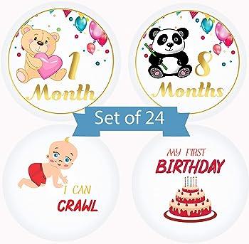 Serene Selection Animals Designs Baby Monthly 24 Premium Stickers