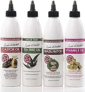 Lisa Rachel Hair Oil Collection - Includes Vitamin E Oil Brazil Nut Oil Castor Oil and Tea Tree Oil In 8 ounce Bottles (4-Piece Set)