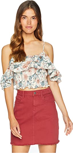 Cold Shoulder Ruffled Crop Top