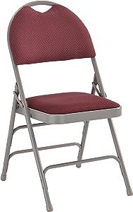 Flash Furniture HERCULES Series Ultra-Premium Triple Braced Burgundy Fabric Metal Folding Chair with Easy-Carry Handle