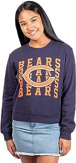 Ultra Game NFL Women's Distressed Graphics Snow Fleece Crop Top Sweatshirt