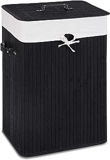 Giantex Laundry Hamper Bamboo Rectangle Basket Washing Cloth W/Bin Rangier Lid Laundry Basket Laundry Basket (Black)