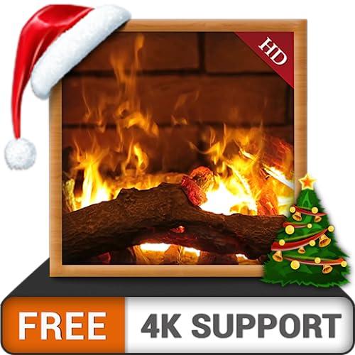 Kaminambiente HD-frei - Genießen Sie die Weihnachtsferien im Winter auf Ihrem HDR-4K-Fernseher und Ihren Fire Devices als Hintergrundbild und Thema für Mediation und Frieden