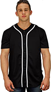Men's Baseball Jersey T-Shirts Plain Button Down Sports Tee 303