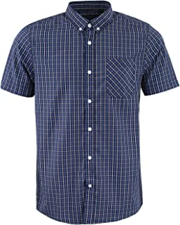 Mens Brave Soul Berliozx Casual Top Short Sleeved Collared Button Down Checked Shirt
