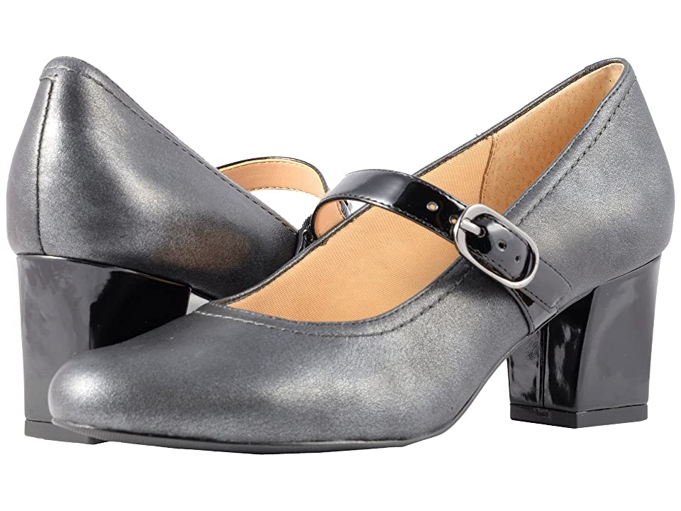 Trotters Candice (Pewter/Black Washed Leather/Patent) High Heels