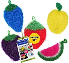 Dish Scrubber for Dishwashing (5 PK Mix) | Net Cloth Scrubber/Washcloth/Dish Rag Cloths | No Mildew Odor Smell Like Sponge...