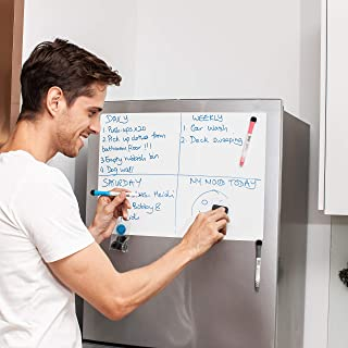 DAZZY DOT Magnetic Dry Erase Board for Refrigerator, 20 x 14 Inches, with Stain Resistant Technology, Whiteboard/White Board for Fridge, Includes 3 Markers, 1 Eraser, 3 Magnets, 8 Hook and Loop Dots