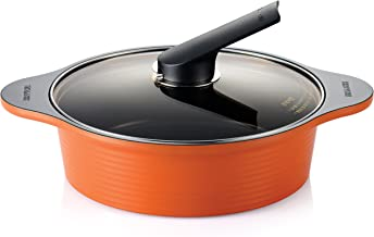 Happycall Alumite Die Cast Low Stock Pot, Orange, 24Cm
