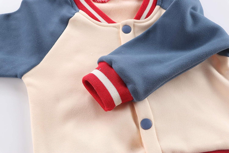 Sitmptol Baby Boys Girls Fleece Baseball Jacket Toddler Kids Button Coat Top Outwear